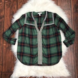🌿4x$20 J. Crew Green Plaid Embroidered Peasant To